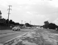 Looking downhill from High Road toward downtown, August 1955